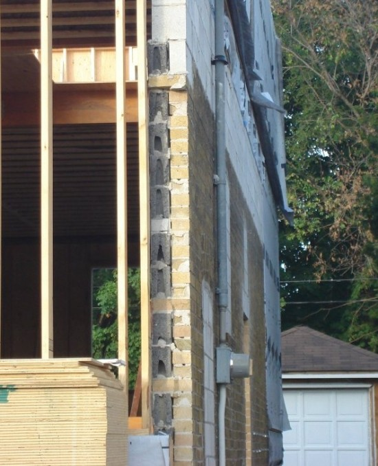 Cross Section of what a 1950's 'Block and Brick' wall looks like in East York.