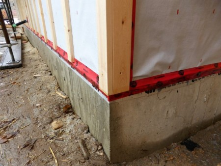 With the 3M Flashing tape projecting down past the face of the foundation wall, you can see how Graham detailed this outside corner continuing from our last blog post.